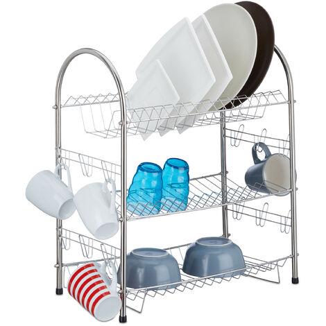 Egouttoir à vaisselle 3 étages inox grille métal support tasses assiettes HxlxP: 55,5 x 49,5 x 24,5 cm, argenté