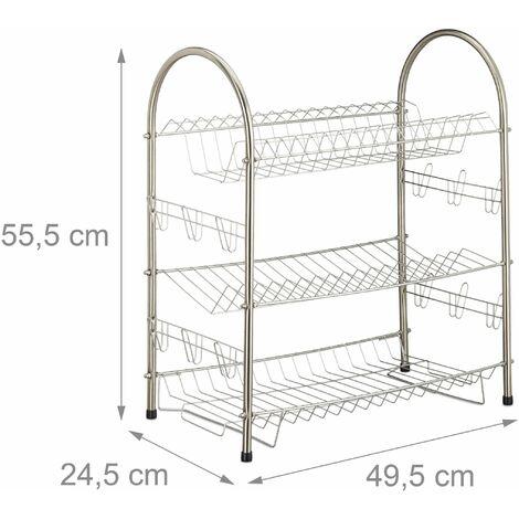 Egouttoir à vaisselle 3 étages inox grille métal support tasses assiettes HxlxP: 55,5 x 49,5 x 24,5 cm- argenté
