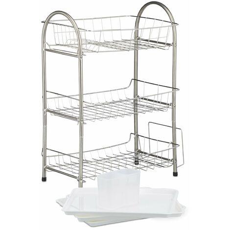 Egouttoir à vaisselle 3 étages porte couvert inox grille assiette 58 x 49 x 22 cm argenté