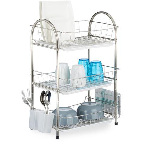 Egouttoir à vaisselle 3 étages porte couvert inox grille assiette HxlxP: 58 x 49 x 22 cm, argenté