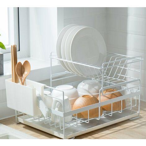 Égouttoir à vaisselle avec bac d'égouttement Égouttoir de rangement pour vaisselle de cuisine (blanc) 41,5 * 26,8 * 29 cm
