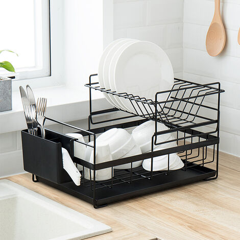 Égouttoir à vaisselle avec bac d'égouttement Égouttoir de rangement pour vaisselle de cuisine (noir) 41,5 * 26,8 * 29 cm