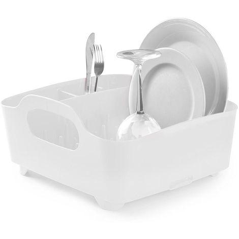 Egouttoir à vaisselle avec poignées de transport Blanc