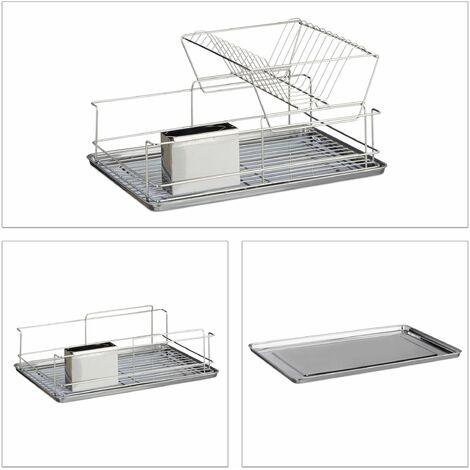 Egouttoir à vaisselle avec porte couverts en inox cuisine récupérat eau HxlxP: 23,5 x 48 x 32 cm- argenté