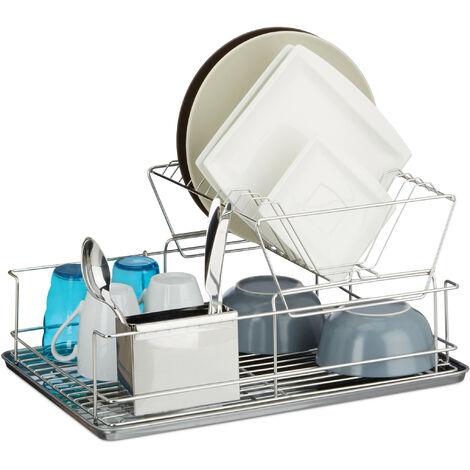 Egouttoir à vaisselle avec porte couverts en inox cuisine récupérateur eau HxlxP: 23,5 x 48 x 32 cm, argenté