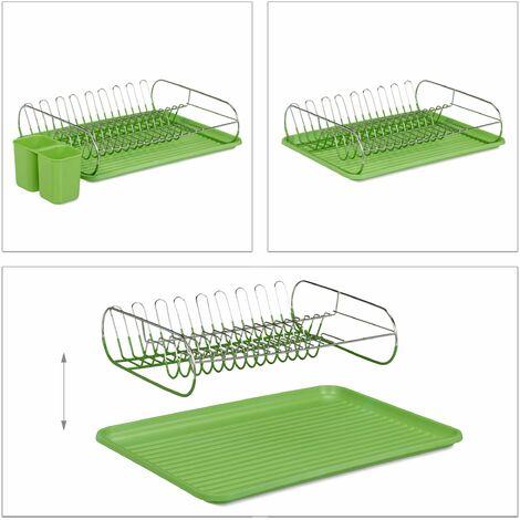 Egouttoir à vaisselle avec porte-couverts inox bac en plastique vert HxlxP: 11 x 42 x 33 cm, vert