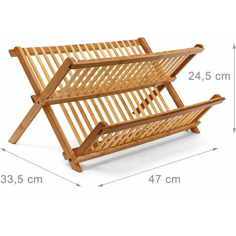 Égouttoir à vaisselle bambou pliant 47 cm