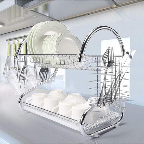 Égouttoir à Vaisselle Chromé Effet Inox Double Niveau Avec Porte-Tasse et Égouttoir pour Couverts