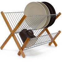Égouttoir à vaisselle CROSS Bambou métalpliable Ustensile de cuisine Accessoire Déco 27 x 38 x 29 cm, nature