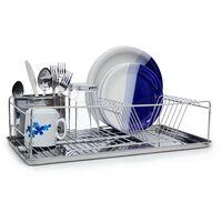 Égouttoir à Vaisselle en acier inoxydable chromé avec bac de récupération d'eau et porte couverts 33 x 48 x 12 cm panier à couverts place pour assiette tasse bol métal brillant, argenté