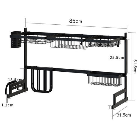 égouttoir à Vaisselle en Acier Inoxydable Support à égouttoir Organiseur sur évier étagère Rangement de Cuisine 85 cm
