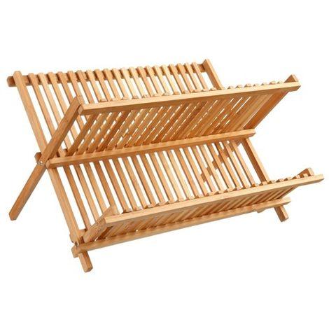 Egouttoir à vaisselle en bambou pliant