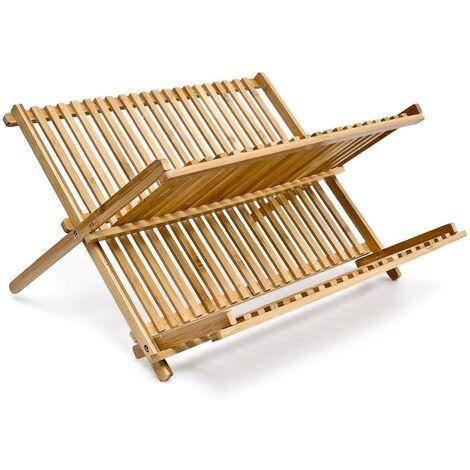 Égouttoir à Vaisselle en bois de bambou résistant 2 niveaux