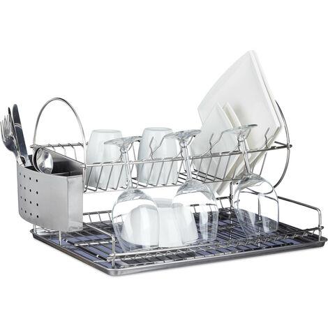 Egouttoir à vaisselle en inox avec porte-couverts verre bac amovible eau HxlxP: 29,5 x 51 x 31,5 cm, argenté