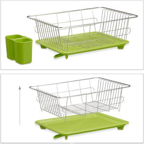 egouttoir vaisselle en inox porte couverts vert bac plastique vert hxlxp 15 5 x 40 x 30 cm