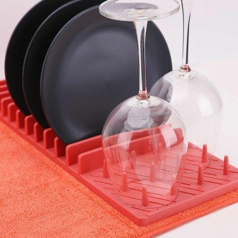 Égouttoir à vaisselle et son tapis de séchage pliable - Corail