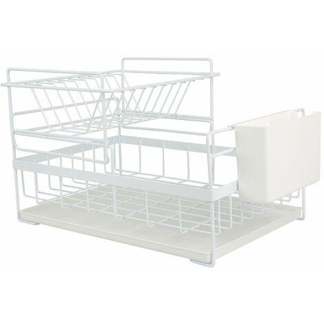 Égouttoir À Vaisselle Étagère De Cuisine Rangement Organisateur Tasses Verres Multifonction - Blanc
