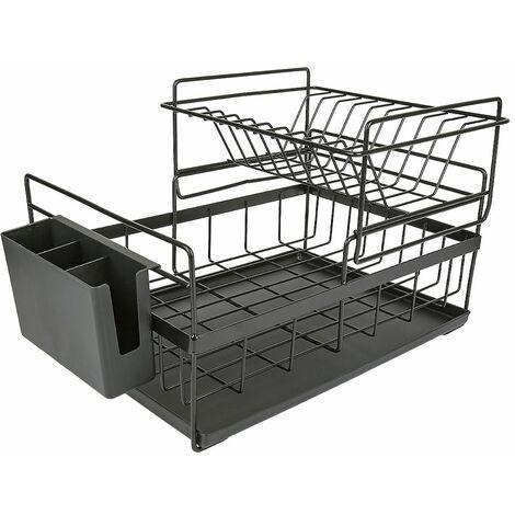 Égouttoir À Vaisselle Étagère De Cuisine Rangement Organisateur Tasses Verres Multifonction Noir