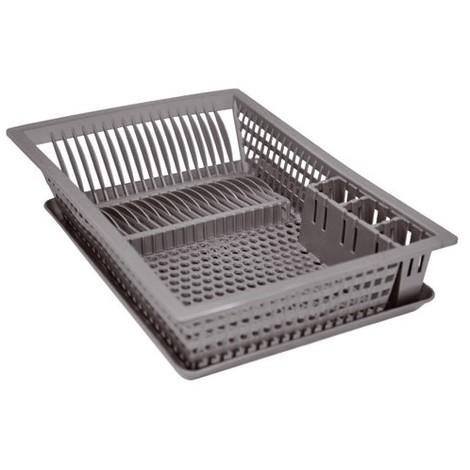 Egouttoir à vaisselle + plateau - 48x35.5 cm - gris