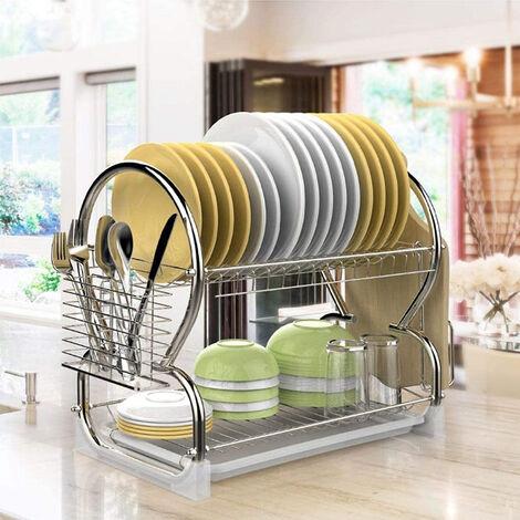 Égouttoir de cuisine à double couche en acier inoxydable (support de baguettes + support de planche à découper)