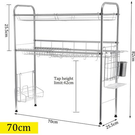 égouttoir d'étagère de support de support de séchage de plat à double niveau au-dessus de l'évier (70CM 2 niveaux)