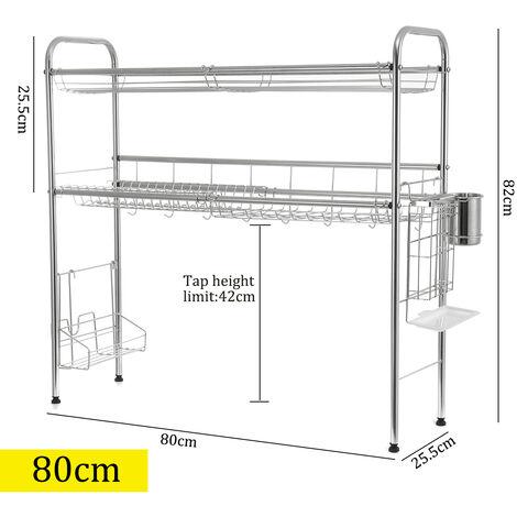 égouttoir d'étagère de support de support de séchage de plat à double niveau au-dessus de l'évier (80CM 2 niveaux)