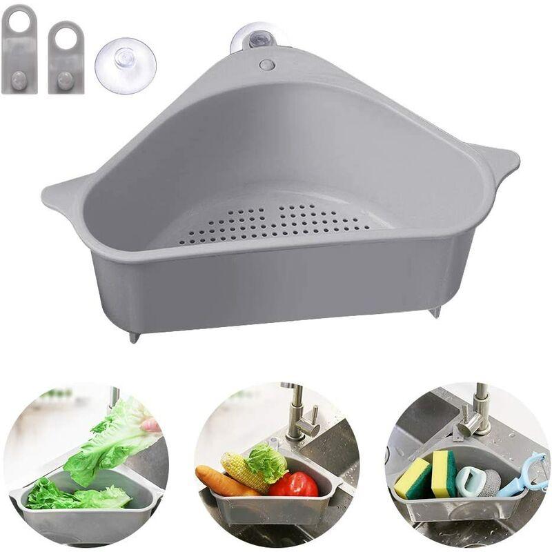 Bares - Égouttoir d'évier, panier de rangement triangulaire avec ventouse, support pour évier de cuisine, salle de bain 24 * 14.2 * 10cm gris