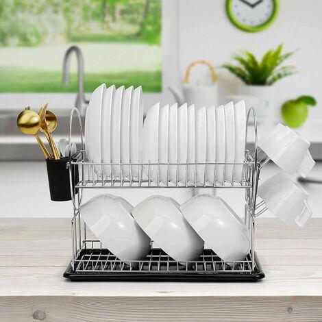 Égouttoir pour vaisselle Premium Duo, Métal chromé, 42*24*36cm, Argent brillant
