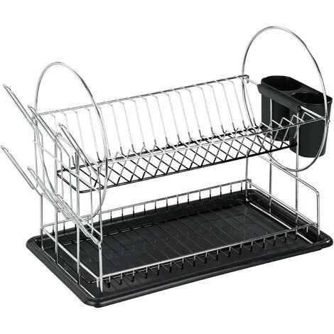Égouttoir pour vaisselle Premium Duo, Métal chromé, 50x 36 x 24 cm, Argent brillant