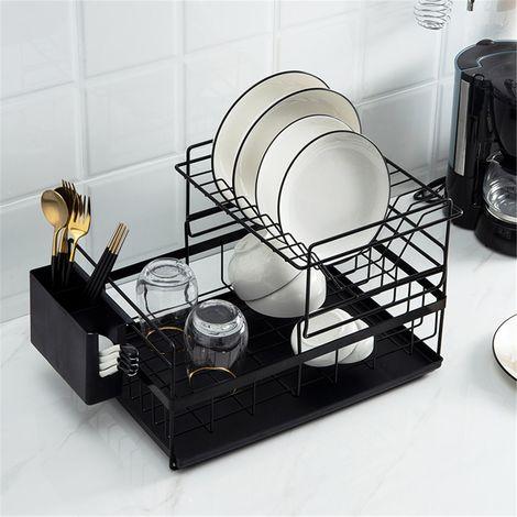 Egouttoir Vaisselle Double Niveau Couverts Cuisine Rangement noir
