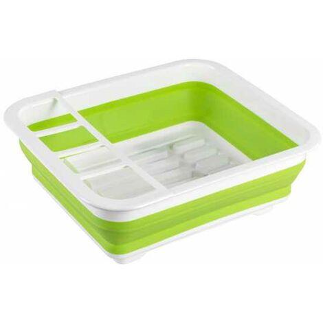 Égouttoir vaisselle, égouttoir vaisselle pliable blanc/vert, 36,5x13x31 cm WENKO