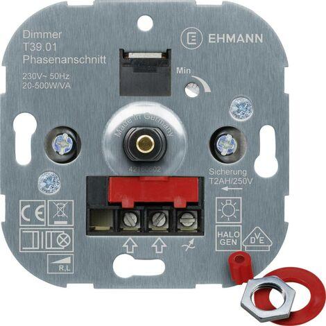 Ehmann 3900x0100 Unterputz Dimmer Geeignet für Leuchtmittel: Glühlampe, Halogenlampe Y630381