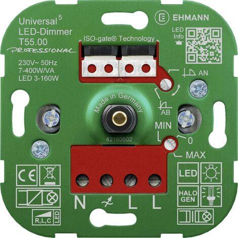 Ehmann 5500x0000 Dimmer universale Adatto per lampadina: Lampadina LED, Lampadina alogena, Lampadina ad incandescenza,