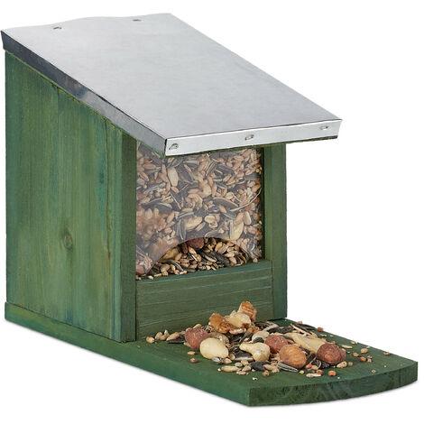 Eichhörnchen Futterhaus, Holz Futterstation, wetterfest, Metalldach, Eichhörnchenhaus zum Stellen, dunkelgrün