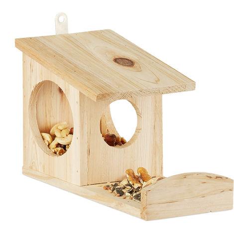 Eichhörnchen Futterhaus zum Hängen, Aus Holz, Wetterfest, HBT: ca. 17,5 x 12 x 25 cm, natur