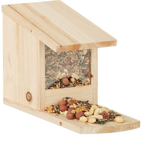 Eichhörnchen Futterhaus zum Stellen, Überwinterungshilfe aus Tannenholz, H x B x T: 17,5 x 12 x 25 cm, natur