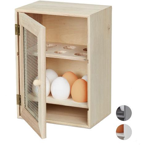 Eierschrank, für 12 Eier, Landhaus Stil, zum Hinstellen, Holz & Metall, Eierregal, HBT: 25 x 18 x 12 cm, natur