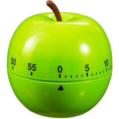 Eieruhr Apfel, mechanisch, laut, Küche, 1h Zeitintervall, Kunststoff, D: 7 cm, lustiger Kurzzeitwecker, grün