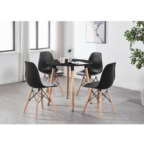 Eiffel Halo Round Dining Table Set with 4 Chairs (BLACK & BLACK)