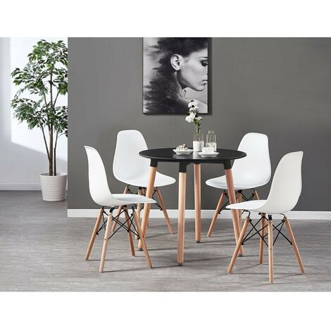 Eiffel Halo Round Dining Table Set with 4 Chairs (BLACK & WHITE)