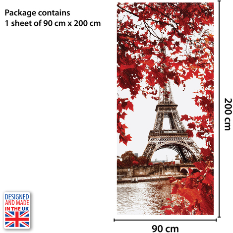 Eiffel Tower Self-Adhesive Door Mural Sticker For All Europe Size 90Cm X 200Cm