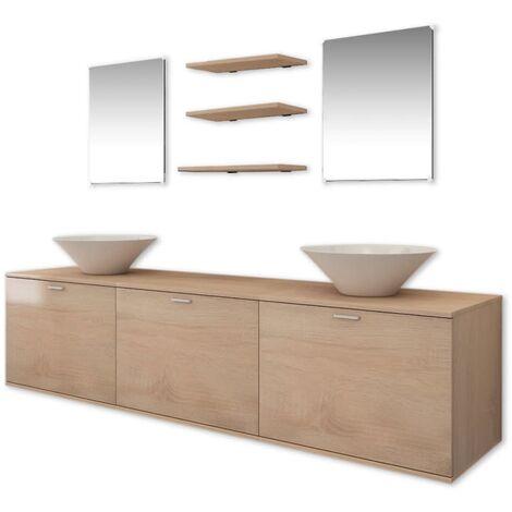 Eight Piece Bathroom Furniture and Basin Set Beige