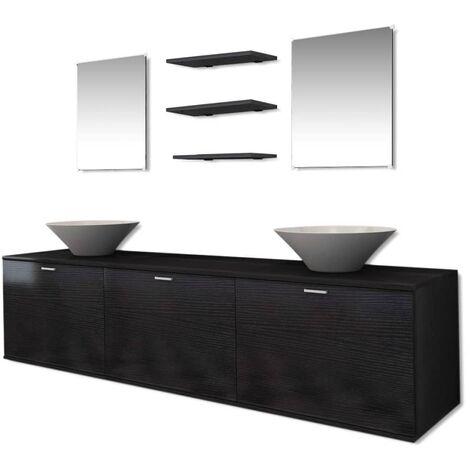 Eight Piece Bathroom Furniture and Basin Set Black