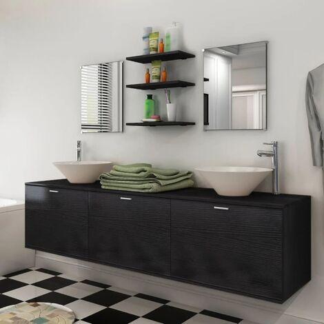 Eight Piece Bathroom Furniture and Basin Set Black - Black