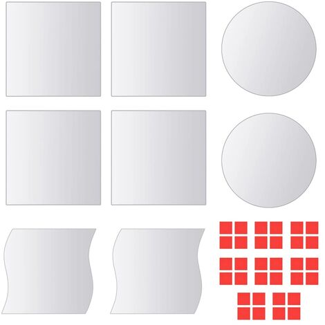 Eight Piece Mirror Titles Multi-Shape Glass - Silver