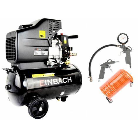 EINBACH Luftkompressor Druckluft-Aggregat Druckluft Set Kompressor 24L Kessel 230V Ausblaspistole Reifenfüller Schlauch