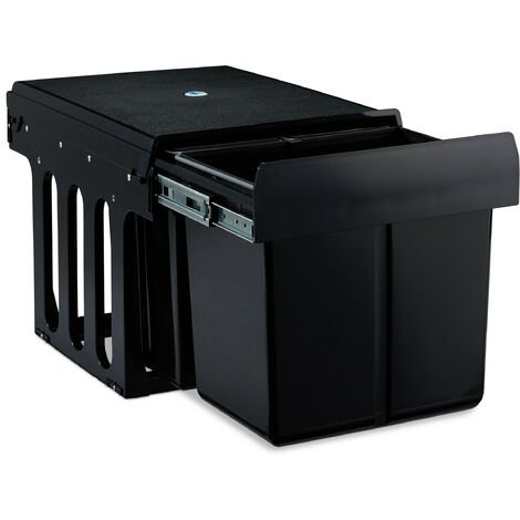 Einbaumülleimer 3-fach, ausziehbar, Küchenmülleimer für Unterschrank, 15l & 2x 8l, HBT 35 x 34 x 48cm, schwarz
