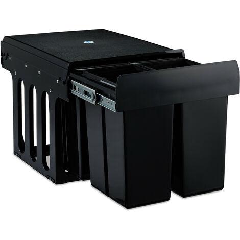 Einbaumülleimer 4-fach, auziehbarer Küchenmülleimer für Unterschrank, 4x 8 Liter, 35 x 34 x 47,5 cm, schwarz