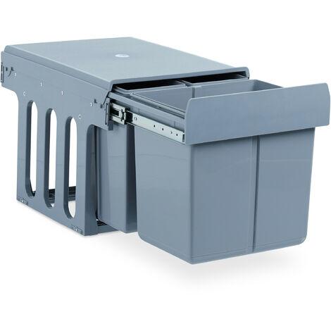 Einbaumülleimer Küche, Auszug, 3-fach Müllsystem Unterschrank, 15 & 8 Liter, Kunststoff, HBT 35x34x48 cm, grau