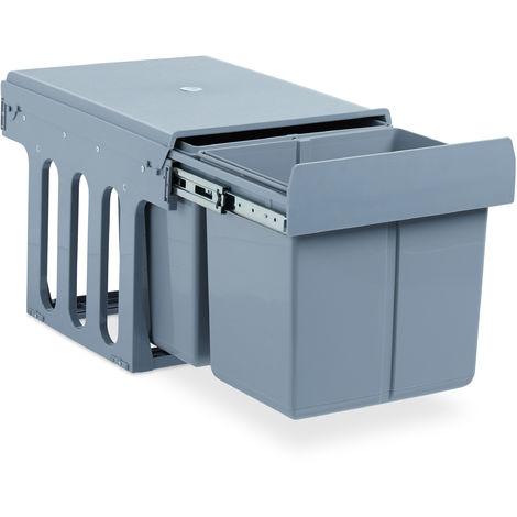 Einbaumülleimer Küche, Auszug, Duo je 15 Liter, Müllsystem Unterschrank, Kunststoff, HBT 35 x 34 x 48 cm, grau